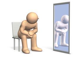 鏡をみて悩む